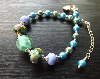 Blue and Green Lampwork Bead Bracelet