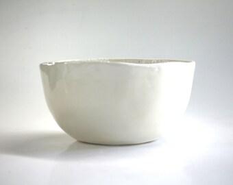 ceramic bowl white and ecru , handmade