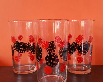 Vintage glasses with red and black dice decoration