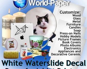 Waterslide Decals for Inkjet (white)  8.5x11 (PACK OF 1, 3, 5, 10 SHEETS)