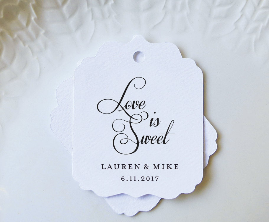 Embossed Wedding Gift Tags : Personalized Gift Tags Love is Sweet Wedding Favor Tags for