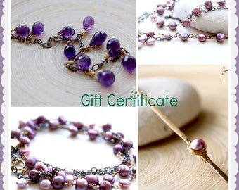 Gift Certificate for EverywhereUR jewelry store. Electronic gift certificate. Graduation gifts, gift certificate. Birthday gift for her.