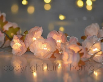 Pale pink Rose Flower Fairy string warm white 20 LED Lights, vintage wedding bedroom decoration centerpiece girl mothers day present gift