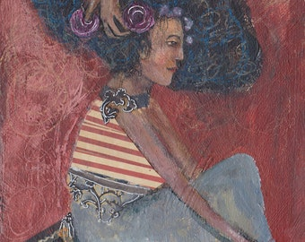 "Original painting,  ""Groom"", mixed media on panel,  6 x 8 inch, unframed art, big hair, beauty, stylist folk art painting, red striped"