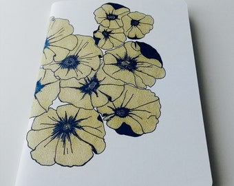 Hand drawn Flower Notebook / journal, jotter, sketchbook, blank notebook