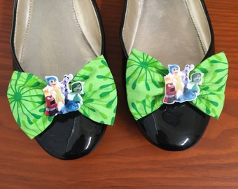 Inside Out Inspired Green Flower Shoe Bows, Shoe Clips