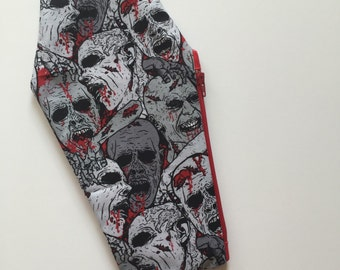 Zombie Coffin Makeup Bag, Makeup Pouch, Cosmetic Bag, Cosmetic Pouch, Pencil Bag, Pencil Pouch, Zombies, Horror, Halloween