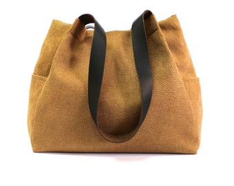 canvas handbag, camel tote bag, leather straps bag, every day bag, camel shoulder bag, light brown handbag, handmade handbag, canvas tote