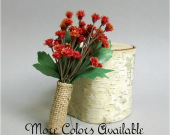 """Set of Baby's Breath Boutonnieres, Burlap Wrap, Orange, Cocoa Brown, Coral, Burgundy Red, Blue, Cream, Lavender, Green, or White, """"Sweet"""""""