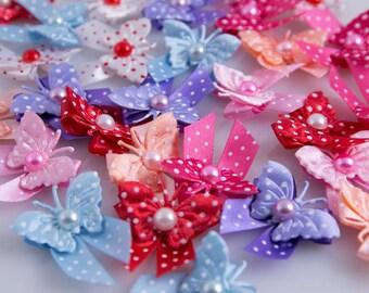 Dog Grooming Bows, Dog Hair Bows - 30 pcs. Polka Dots Butterfly