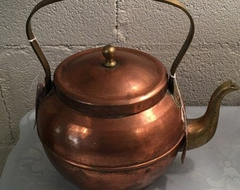 Vintage Copper and Brass Teapot