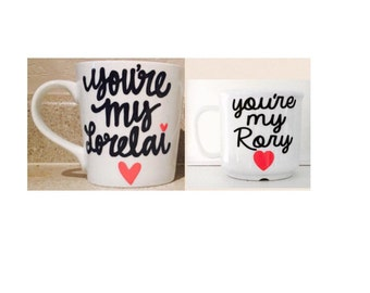 Gilmore Girls-set of 2 - mommy and me- you're my lorelai and you're my rory- Sippy Cup- Kid's Plastic Coffee Cup- mommy glass cup- Gilmore G