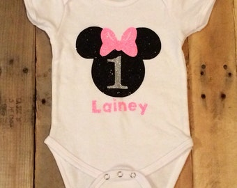 Girls Minnie Mouse Birthday Onesie - 1st 2nd 3rd 4th personalize