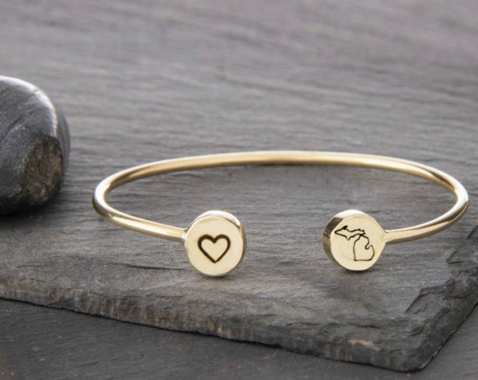 Featured listing image: michigan jewelry, michigan, michigan charm, go blue, state bracelet, state jewelry, michigan gift, michigan wolverines, michigan state