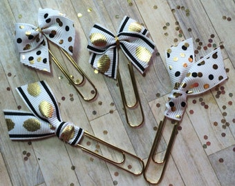 Black & Gold Dots - Ribbon Bow Planner Clips / Bookmarks