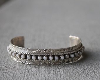 Adorable Vintage Handcrafted Pukestine Sterling Cuff