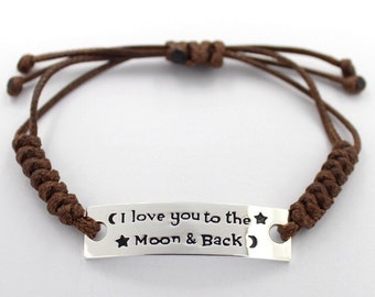 I Love you to the Moon and Back, twist bracelet
