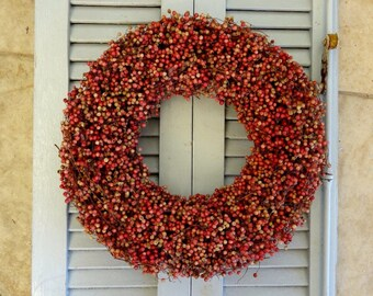 "SALE -30% - 17"" Dried Pink Peppers Wreath - Kitchen Herb Wreath - COUPON SPRING"