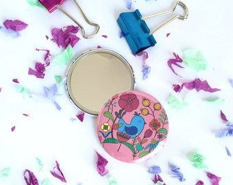 Bird pocket mirror, Pocket mirror, Round mirror, Flower mirror