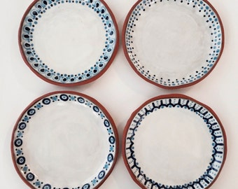 Wedding Registry, Set of 4, VERANDA PLATES Dessert, Red Stoneware, Party, Ethnic, Polish, OOAK, Dinnerware, Dishes, Rustic, Clay, Hearty