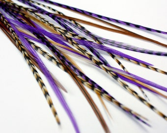 Real Feather Hair Extensions : Purple Auburn