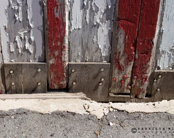 Fine Art Print, Old Red Door , Minimalistic Decor, Urban Photography, Color.