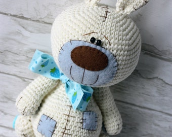 crochet toy teddy bunny rabbit with patches