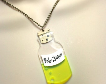 "HARRY POTTER inspired ""POLYJUICE"" potion bottle laser cut necklace"