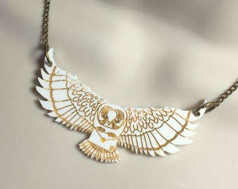 """Harry Potter inspired...laser cut Acrylic """"Flying Owl post"""" necklace"""