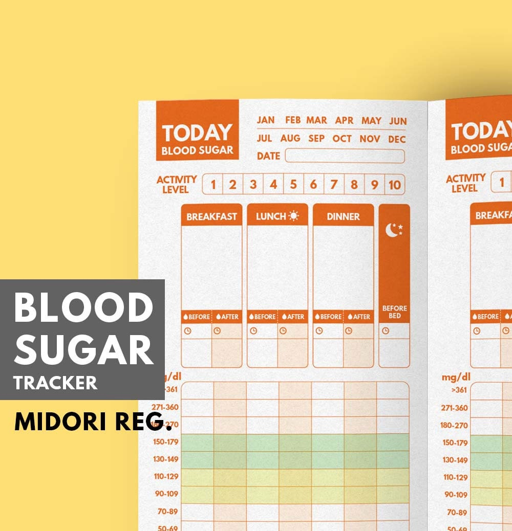 midori insert blood sugar tracker type 1 diabetes planner