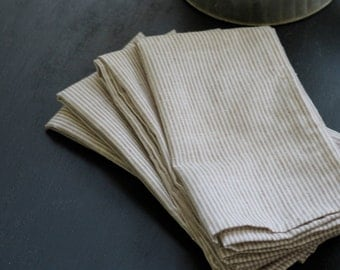 Cloth napkins, dinner napkins, neutral stripe napkin, simple farmhouse napkin, shower gift, hostess gift