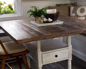Reclaimed wood distressed white wash table top, Add your own base