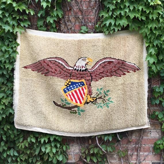 Antique Hooked American Eagle Rug Wall Hanging, Hooked Rug, Hooked Wall Hanging, Vintage Americana Hook Rug