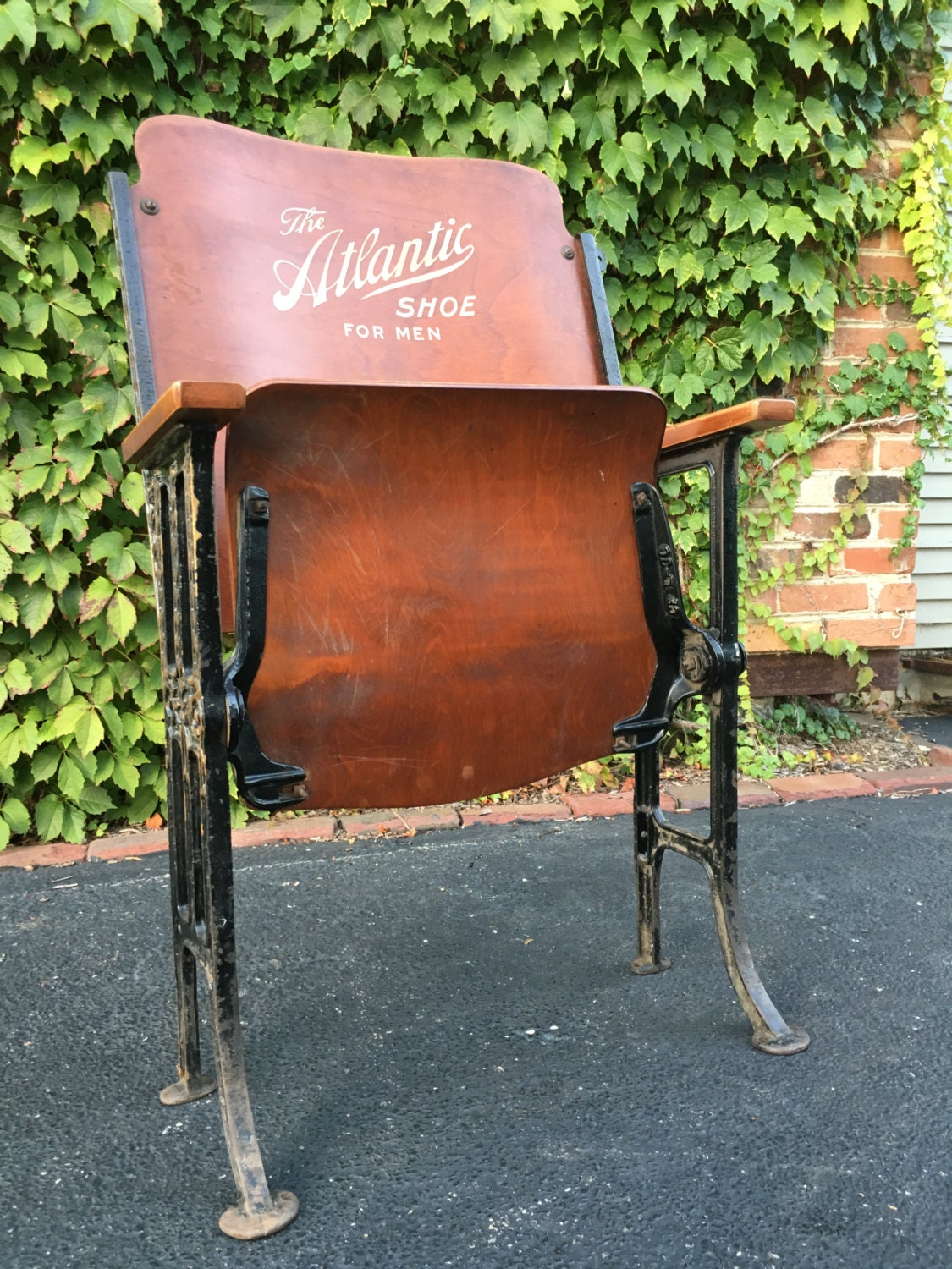 RESERVED Antique Theater Chair The Atlantic Shoe Advertisement Folding Th