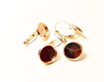 D-00294 - 4 Lever back hoop earrings rosegoldcolor 12mm tray