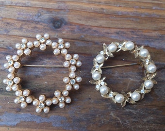 Two vintage pearl wreath brooches