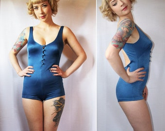 Vintage 70's Blue One-Piece Swimsuit