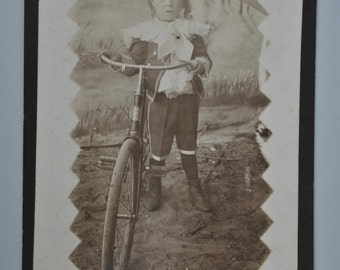 Cabinet Card Photo Little Boy w Early Bicycle S on Head Badge
