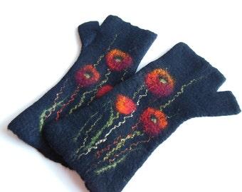 Felted mittens,fingerless mittens,fingerless gloves,wool mittens,Poppy mittens,Hand felted,long gloves, hand made, black red