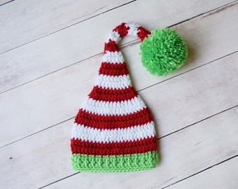 Newborn Christmas Hat - Red and White with Green Pom Infant Hat - Christmas Photo Prop Hat - Newborn Christmas Elf hat
