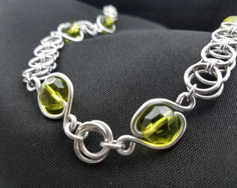 Olive Wire Wrap Beads with Helm Chainmaille Necklace
