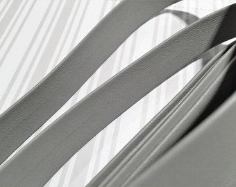 PRE CUTS  20mm Light Grey Genuine Nappa Flat Leather Cord, Total length sent uncut