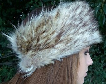 Light Coyote Faux Fur Headband / Neckwarmer / Earwarmer Handmade in Lancashire England