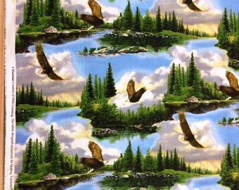 Majestic Bald Eagles Cotton Fabric by Quilting Treasures! [Choose Your Cut Size]