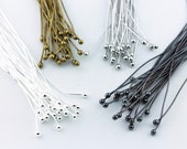 """25 pcs 4"""" 0.8x100mm LONG Real Sterling Silver Plated White Gold Black Gunmetal Bead Ball Headpins Tarnish Resistant Findings Hardware"""