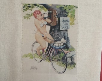 On the Phone, Bike pinup girl floursack tea towel