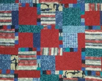 American patriotic red and blue scrap quilt