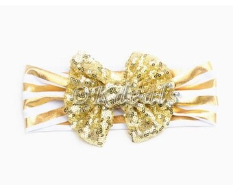 Sequined Bow Turban Headband