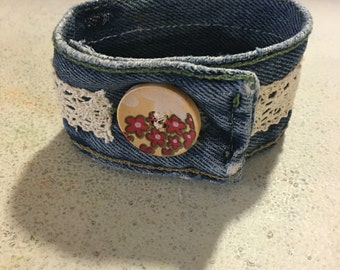 Recycled Denim and Lace Cuff / Braclet with Wooden Button