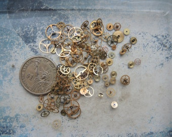 Vintage Tiny BRASS gear / Steampunk Gears / Altered Art Industrial Mixed Media Assemblage Scrapbooking / Watch gears / Watch parts Ww7c